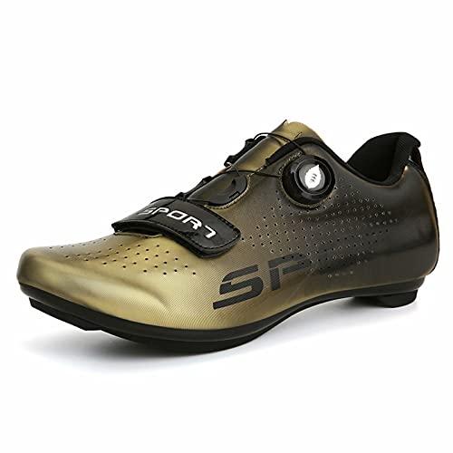 Cacagie Zapatillas de ciclismo para mujer y hombre, SPD, para practicar spin en exteriores e interiores, compatibles con tacos Delta Look, color Dorado, talla 47 EU