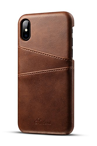 iPhone XS X Wallet Phone Case Slim PU Leather Back Protective Cover Card Holder (Brown)