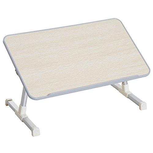 homcom Tavolino da Letto per PC Colazione Regolabile Pieghevole Portatile Alluminio e Legno 54 × 30 × 22.5-32cm