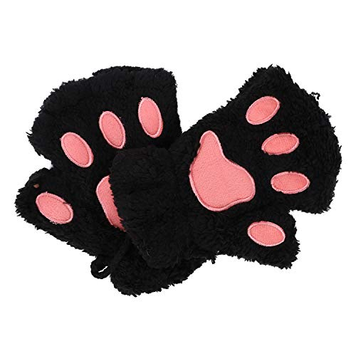 Women Girls Warm Half Finger Plush Gloves Mittens Cute Bear Cat Dog Paw Gloves Fingerless Mittens Hanging Neck Gloves Mittens with Anti-lost String Hand Warmer for Outdoor Sports Touchscreen Typing