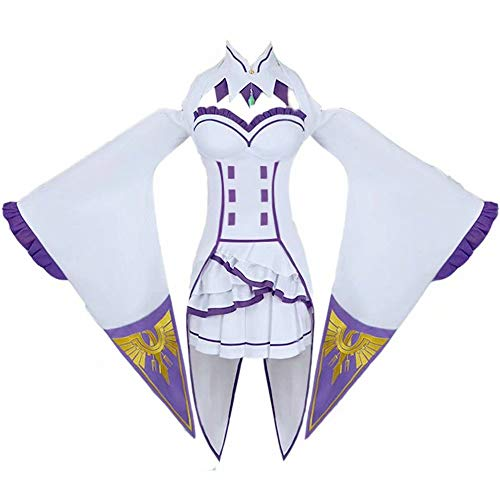 Anime Emilia Cosplay Kostüme, Life - in a Different World -from Zero Cosplay Kostüm Halloween Karneval Party Kleid Komplettset und Katzenohren Umhang Umhangmantel