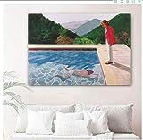Pintura De La Lona 60x90cm Sin Marco David Hockney Swim retrato del artista imágenes modernas póster impreso para pared de sala de estar decoración abstracta