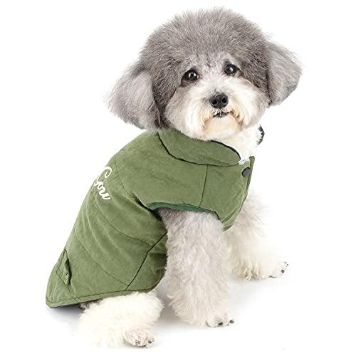 Zunea Chaqueta de invierno reversible para perros pequeños y niñas, acolchado grueso, cómodo y cálido, para cachorros, ropa para mascotas Chihuahua, color verde XXL