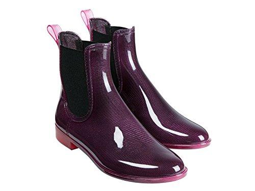 Damen Regenstiefeletten wasserdicht Regenstiefel Stiefel Lila (38)