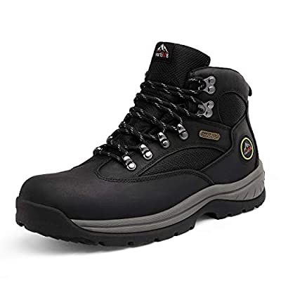 NORTIV 8 Men's Waterproof Hiking Boots Mid Ankle Leather Hiker Backpacking Boots