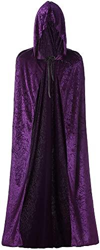 SHUOYUE Capa con capucha para Halloween, disfraz de vampiro, capa larga de terciopelo, Navidad, adulto, cosplay, fiesta, disfraz de carnaval, unisex, color lila