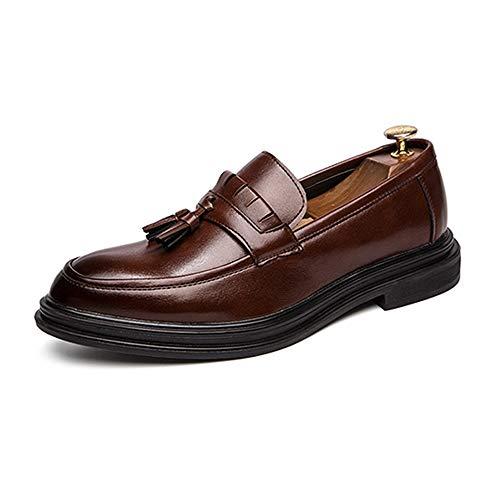 Jingkeke Zapatos de Borla de Oxford for Hombres Zapatos Mocasines de Vestir Formales for Hombres Mocasines de Microfibra Suave Tacón Antideslizante con Suela única Llamativo Moda