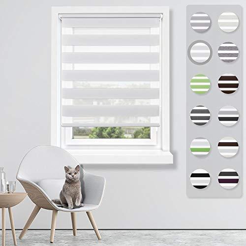 SBARTAR Double Store Enrouleur Jour Nuit Blanc 50 x 150 CM - Facile à Fixer sans Perçage ni Forage avec Clips