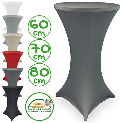 DILUMA Stehtischhusse Stretch Elastique Ø 70-75 cm Anthrazit - elastische Premium Stretchhusse für gängige Bistrotische und Stehtische - dehnbarer Tischüberzug