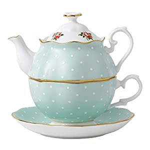 Royal Albert Rose Tea for One, Mostly Green with Polka Dots Multicolored Floral Print