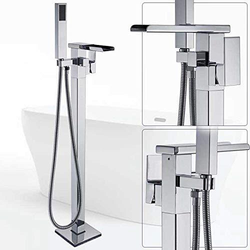 PLUIEX Grifo de la bañera montado en el suelo Cascada grifo mezclador de la bañera de bronce negro baño ducha conjunto con ducha de mano grifo de bañera independiente, grifo de bañera cromado