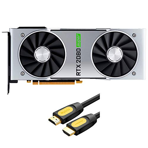 NVIDIA Geforce RTX 2080 Super Founders Edition Graphics Card 8GB GDDR6 PCIE Express 3.0 DisplayPort HDMI DVI-D USB-C 4K UHD Ray Tracing VR Ready with Mytrix HDMI 2.0 Cable