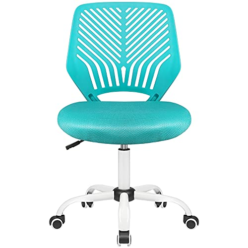 Pretzi Kids Desk Chair Kids Task Chair Armless Teens Desk Chairs Lumbar Support Study Chair Student Rolling Mesh Computer Chair Low Back Swivel Ergonomic Adjustable Height Girls Boys Youth(Turquoise)