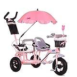 LBBGM Bicicleta de Triciclo Doble para niños, Cochecito de bebé Gemelo con Pedal Plegable, Cochecito de Verano para bebé Buggy de Doble Asiento para niños de 1 a 6 años de Edad, Rosa