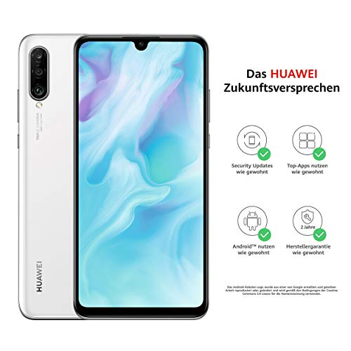 Huawei P30 lite Dual-SIM Smartphone B&le (6,15 Zoll, 128 GB ROM, 4 GB RAM, Android 9.0) Weiß + SD Karte [Exklusiv bei Amazon] - DE Version