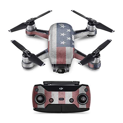 Skins4u Schutzfolie Design Aufkleber Skin kompatibel mit DJI Spark Drohne USA Flagge