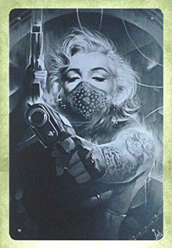 Anjoes Metal Sign 8 x 12inch - Garage Interior Ideas Marilyn Monroe Tattoos Gun Vintage Look tin Sign Wall Decoration Bar Cafe Home Decor