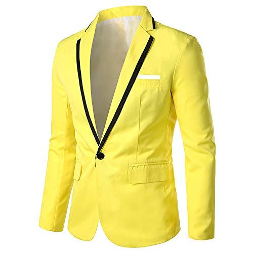 YOUTHUP Chaqueta para hombre, estilo informal, ajustada, moderna, con solapa para bodas,...
