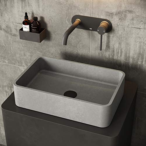 VIGO VG04062 12.81' -19.69' W -4.75' H Concreto Stone Rectangle Cast Stone Vessel Sink without Overflow in Gray