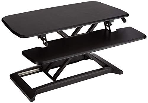Amazon Basics – Accesorio para convertir escritorio para trabajar de pie o sentado, altura ajustable, color Negro