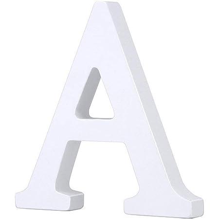 Venkaite DIY Lettres en bois A-Z de fête d'anniversaire de mariage Loisirs Créatifs Alphabet Blanc Bois (A)