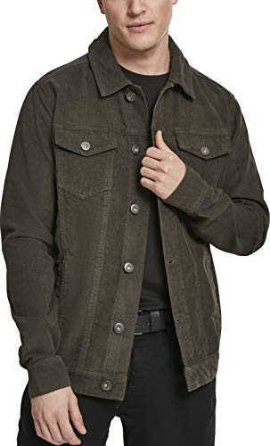 Urban Classics Herren Jeansjacke Jacke Corduroy Jacket, Grün (Dark-Olive 00551), 4XL