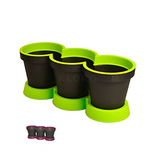 Geli kruidenpot 3-delige kruiden plantenpot tweekleurig kunststof bloempot antraciet/paars.