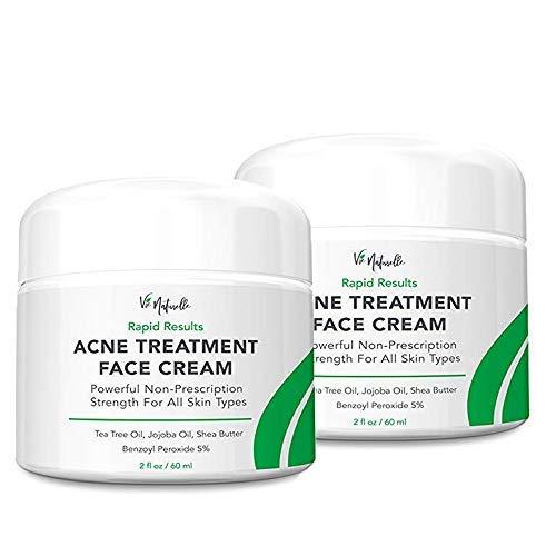 Acne Treatment Cream - 5% Benzoyl Peroxide Spot Treatment Acne Cream - Cystic Acne Spot Treatment for Face - Pimple Cream with Tea Tree Oil for Acne - 2-pack