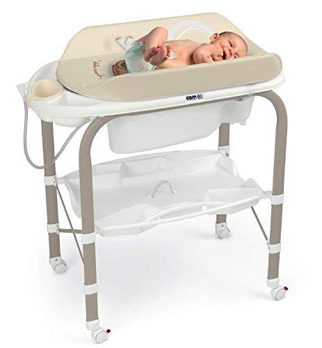 CAM Bade-Wickelkombination CAMBIO | Antikipp-Sicherheitssystem | praktische Ablageflächen | Design Made in Italy | Babybadewanne inkl. Babydusche | Wickelkombination (Bärchen)
