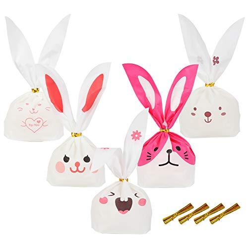 KAKOO 100er Hasen Geschenktüten Set Süße Ostertüten Bunny Partytüte Hasenohren Süssigkeiten Beutel Kekse Biscuit Tüte mit Twistband für Kindergeburtstag Party Mitgebsel 22*13.5cm