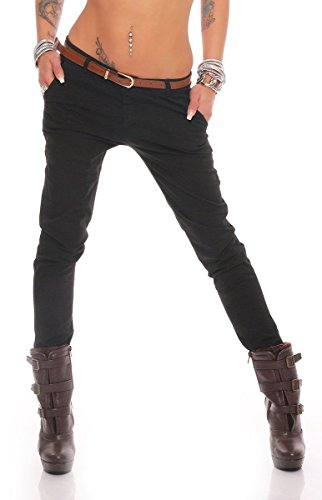 Fashion4Young 10777 Damen Skinny Chino Pant Hautenge Treggings Stretch-Stoff Damenhose mit Gürtel (M=38, Schwarz)
