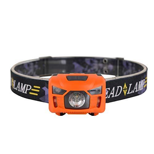 WOLFTEETH Linterna frontal LED recargable USB con sensor de manos libres, 250 lúmenes, luz blanca roja, para correr, camping, senderismo, pesca, baterías incluidas