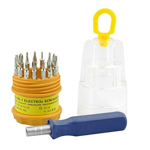 JohnJohnsen 16-en-1 Destornillador vidrios de la reparación del hogar del Destornillador de múltiples Funciones de la Pluma de Tipo magnético Destornillador (Multicolor)
