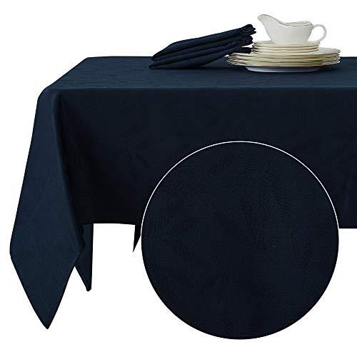 Deconovo Tischtücher Wasserabweisend Tischwäsche Tischdecke Jacquard 137x200 cm Bambusblatt Dunkelblau