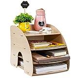 Stehsammler A4 Schreibtisch Organizer Holz Zeitschriftensammler mit 4 Fächern Zeitschriftenbox Dokumentenablage Abnehmbare Buchstütze Beige Ordnungssystem für Büro Arbeitszimmer Zuhause Schule