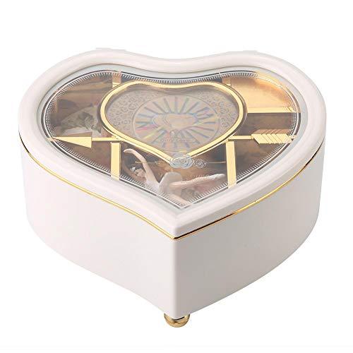 Carillon Ballerina a Forma di Cuore Carillon portagioie in plastica Carousel Manovella Carillon Meccanismo Regalo per San Valentino