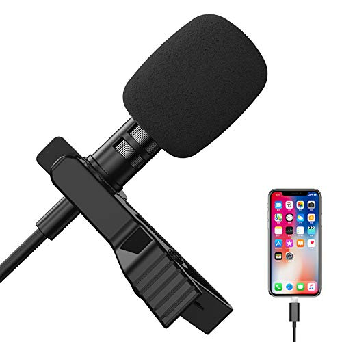 """Lavalier Microphone for iPhone, Professional Clip on Lapel Mic Speaker Omnidirectional Audio Video Recording for Podcast/YouTube/Interview/Vlog/Video/Lecture Recording (79"""")"""