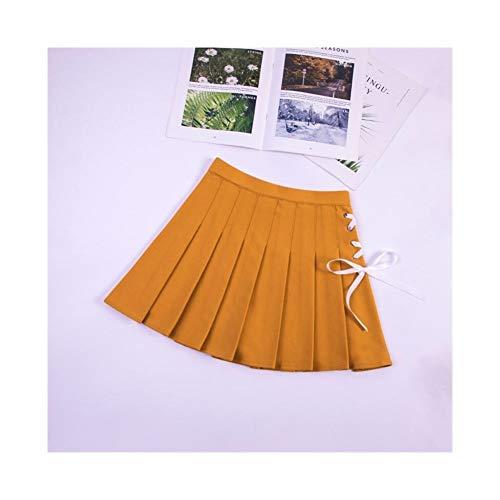 Falda plisada de cintura elstica para mujer primavera y otoo, falda de encaje con correa de cintura alta, faldas preppy para vestido (color amarilla, tamao: M)