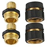 3/4' Brass Garden Hose Quick Connector Value Pack (2Male+2Female)