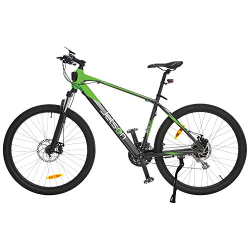 Jetson Adventure Electric Bicycle, Green/Black - Lightweight E-Bike with 21-Speed Shimano Gears, 9 Pedal Assist Levels, Bright LED Headlight, Backlit LCD Display, and Front Suspension
