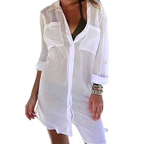 Jecarden Strandkleid Damen, Bikini Cover Up Strandponcho Damen Sommer Pareos Sommerkleid Damen Elegant Bademode Strand Vertuschen Shirt für...