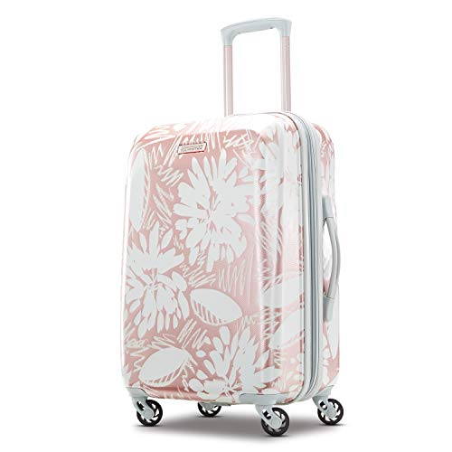 American Tourister Moonlight Hardside Expandable Luggage with Spinner Wheels, Ascending Gardens Rose Gold, Carry-On 21-Inch
