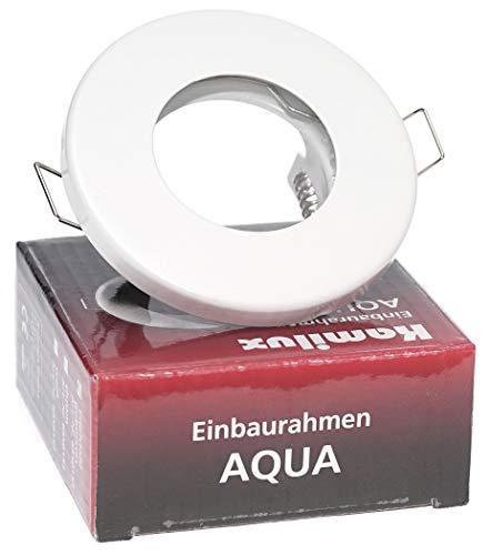 Decken Einbauspots IP65 Aqua Bad & Dusche Feuchtraum Nassraum, eckig oder rund, 12V und 230V für LED oder Halogen Leuchtmittel (rund weiss)