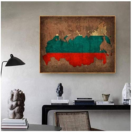 Canvas print,Fashion Decoraties home ideas Country Flag Maps Poster Vintage kaart van Rusland Home Decor Wall Art Decor-50x70cm