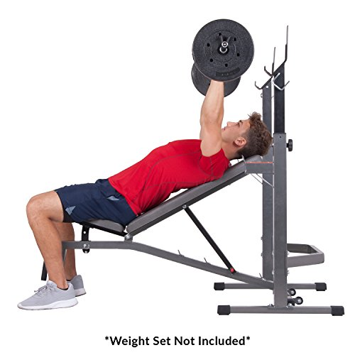 Body Champ Two Piece Set Olympic Weight Bench with Squat Rack PRO3900, Grey