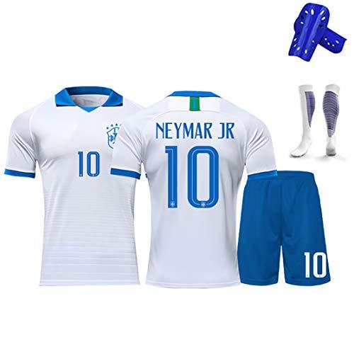 Kinder Fußball Trikot Kits T-Shirt Brasilien 20-21 Heim und Auswärts, 10# Neymar, Limitierte Auflage Gedenk Fan Trikot Set, Champion des Green Stadium-White-20#