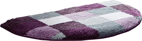 Erwin Müller Duschvorlage, Duschmatte, Dusschvorleger rutschhemmend aubergine Größe 50x80 cm - kuscheliger Hochflor, für Fußbodenheizung geeignet