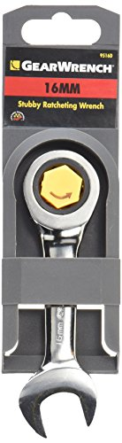 GEARWRENCH 12 Pt. Stubby Ratcheting Combination Wrench, 16mm - 9516D