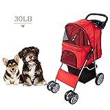 Dawoo Carrito para Mascotas De 4 Ruedas para Gatos/Perros, Carrito De Jogging Fácil De Plegar, con Canasta De Almacenamiento y Portavasos (Rojo)