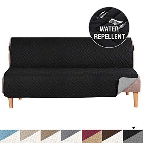 "H.VERSAILTEX Futon Cover Reversible Sofa Slipcover Furniture Protector Water Resistant 2 Inch Wide Elastic Straps Futon Sofa Bed Pets Kids Dog Cat Fit Sitting Width Up to 70""(Futon, Black/Beige)"